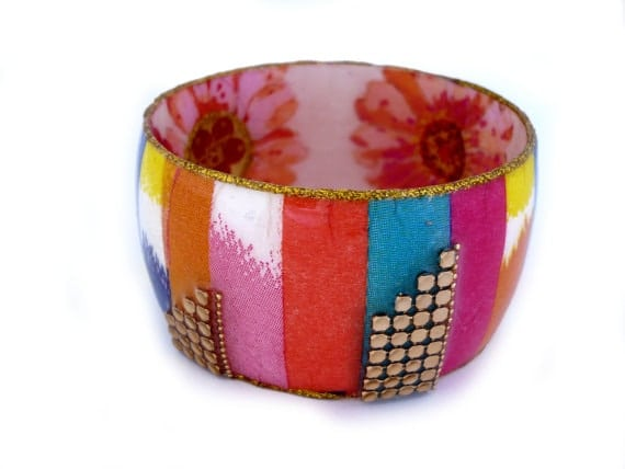 colorful strips bangle by iris design