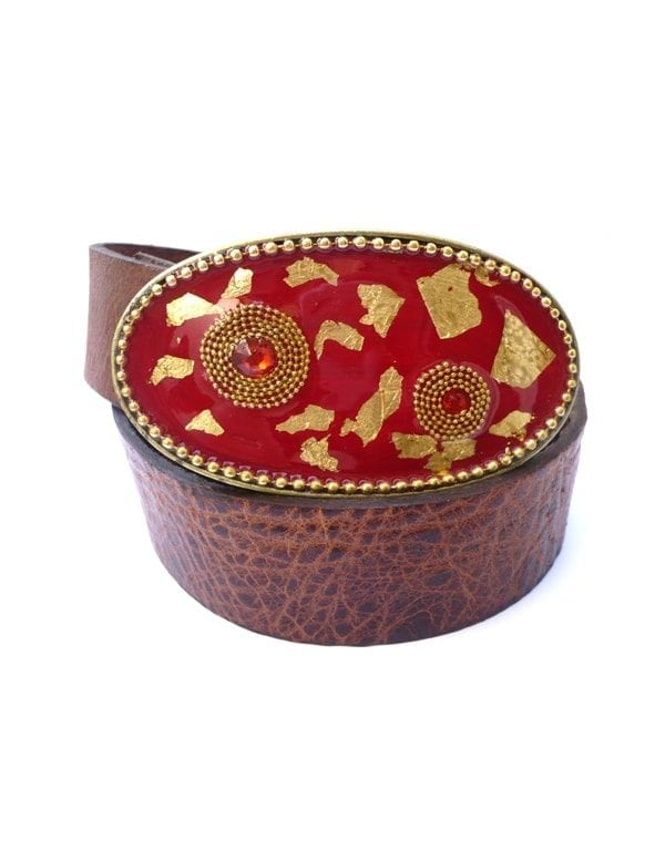 red & gold Leaves Buckle by iris design